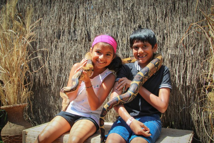 Brave Rishab and Tanvi with a large python
